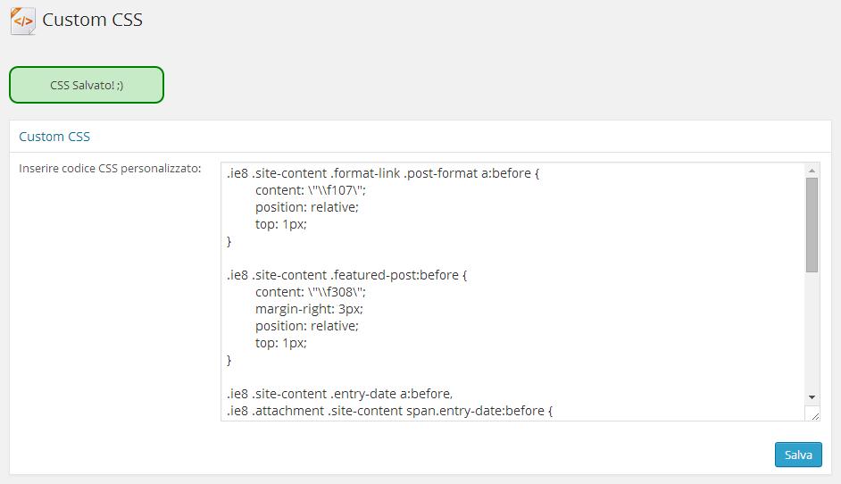 custom css wordpress setting